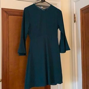Turquoise green long dress with bell sleeves